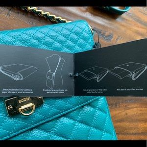 BODHI Bags - BODHI iPad Purse NWT Emerald Color Gold Chain